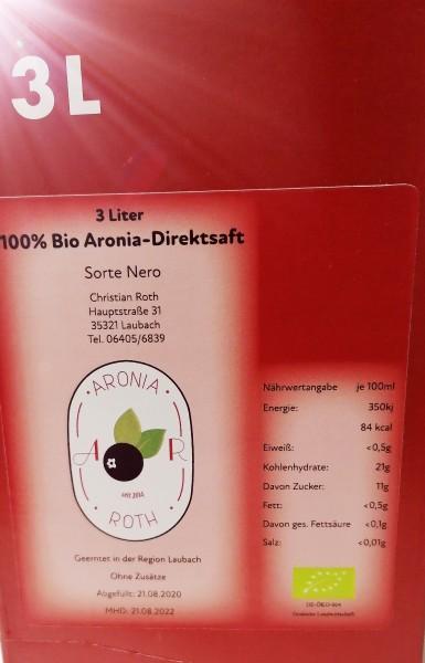 Bio Aronia Direktsaft aus Deutschland 3 Liter Bag in Box