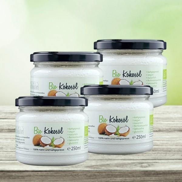 Bio Kokosöl nativ 1000 ml 4er Pack (4x250ml)
