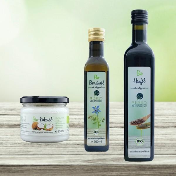 Unser Speiseöl Set bestehend aus Bio Hanfsamenöl 500ml + Bio Kokosöl 250ml + Bio Borretschöl 250ml