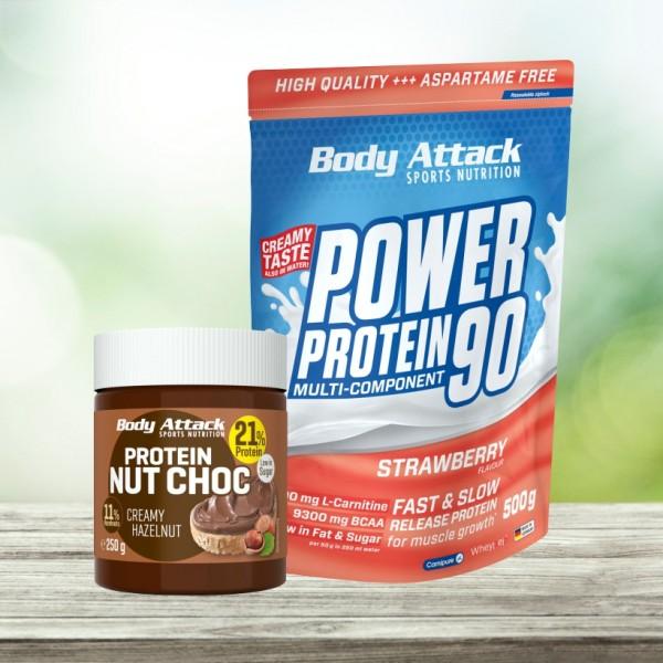 Kombiangebot Power Protein 90 500g + Protein Nut Choc 250g