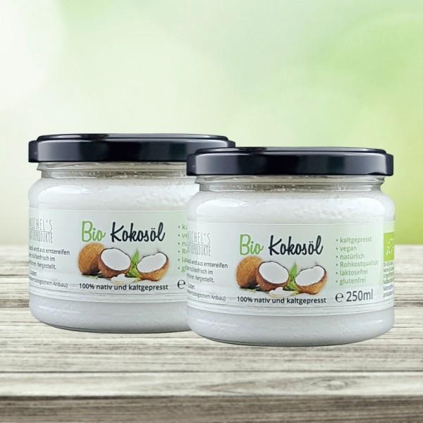 Bio Kokosöl nativ 500 ml (2x250ml) kaltgepresst Kokosfett